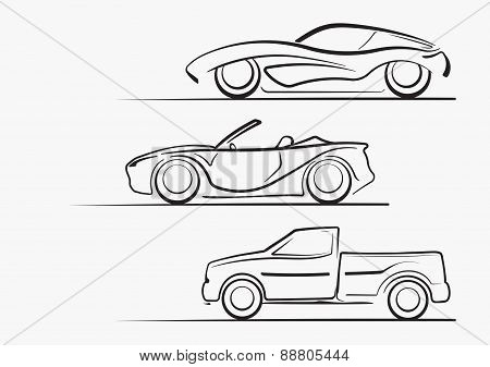 Set Of 3 Cars Silhouettes For Design Or Logo.