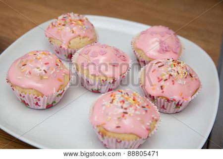 Pink Muffin On A Plate