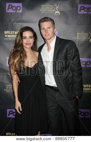 LOS ANGELES - April 21:  Amelia Heinle, Thad Luckinbill at the  2015 Daytime EMMY Awards Kick-off Party at the Hollywood Museum on April 21, 2015 in Hollywood, CA