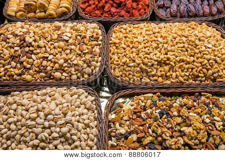 Nuts and cereals at a market