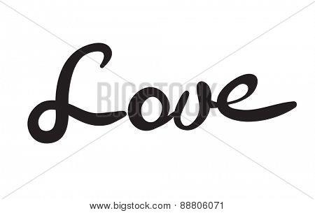 Hand-written word LOVE, lettering. Vector illustration