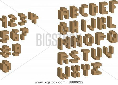3D Pixel alphabet and numbers