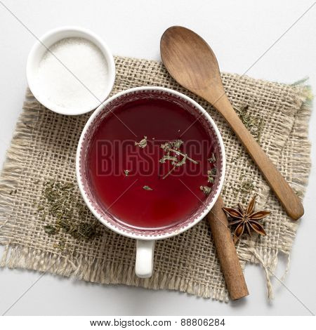 Tea In Vintage Cup On Wooden Table