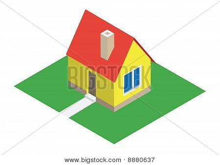 Isometric house with lawn
