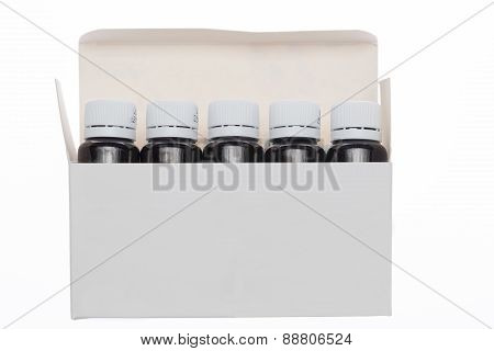 Open white box with bottle pharmaceutical