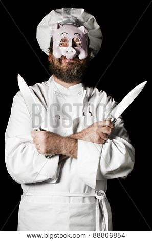 Chef With Pig Mask And Knives