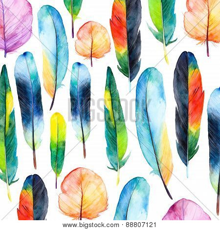 Watercolor feathers set. Hand drawn vector illustration with colorful feathers