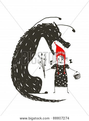 Little Red Riding Hood and Black Scary Wolf