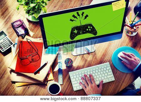 Game Controller Joystick Console Control Concept