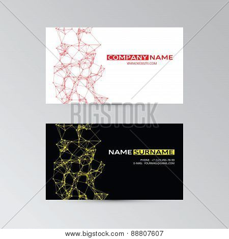 Color Template Of Business Cards With Abstract Elements