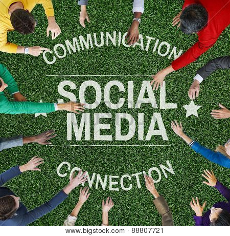 Social Media Communication Connect Social Network Concept