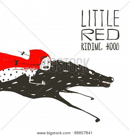 Little Red Riding Hood on Black Wolf Running