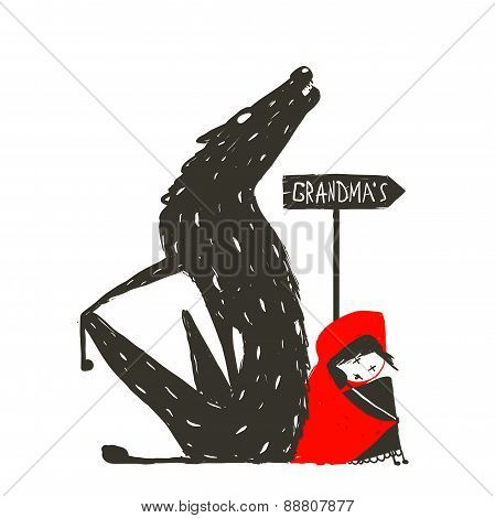 Little Red Riding Hood and Scary Wolf
