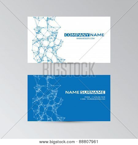Blue Of Business Cards With Abstract Elements