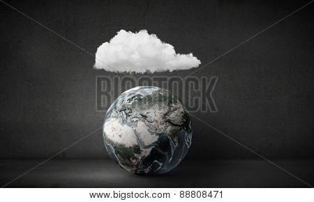 Earth planet and white cloud above it. Elements of this image are furnished by NASA