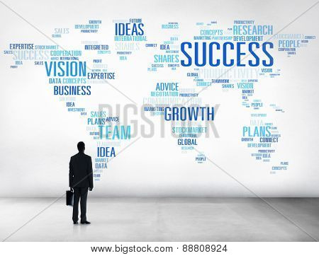 Businessman Planning Global Business Strategy Success Growth Concept