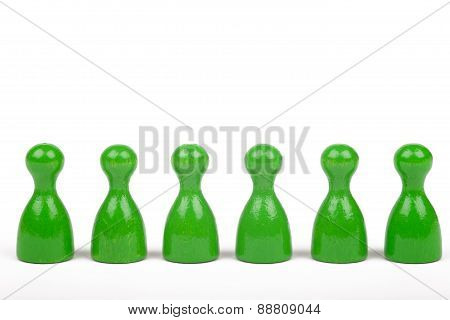 Six Green Figures In A Row