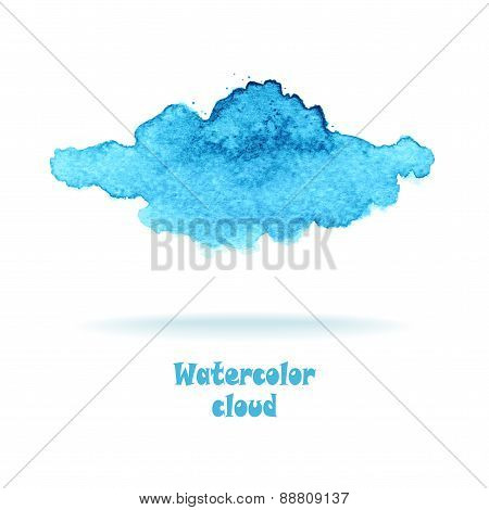 Watercolor cloud in blue colors