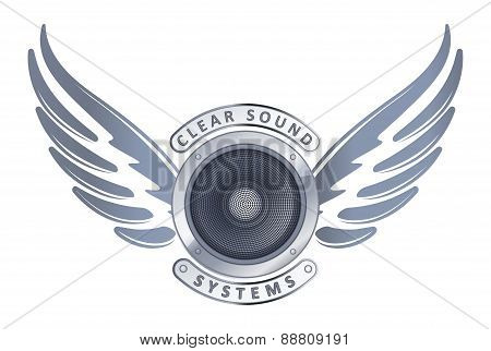 Abstract Design With Speaker. Wings And Captions Clear Sound Systems For Logo Or Decor