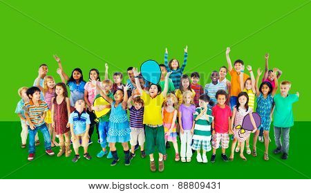 Multiethnic Children Smiling Happiness Friendship Concept