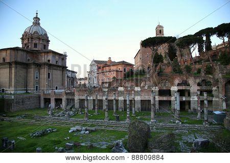 Roman Forum Ruins In Rome, Italy