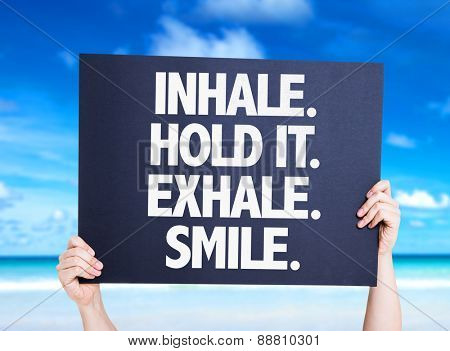 Inhale Hold It Exhale Smile card with beach background