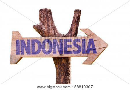 Indonesia wooden sign isolated on white background