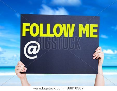 Follow Me with a copy space card with beach background