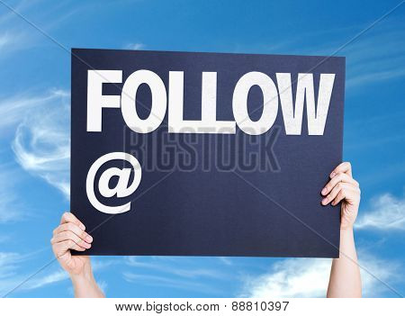 Follow with a copy space card with sky background