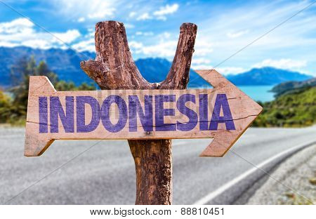 Indonesia sign with road background