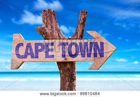Cape Town wooden sign with beach background