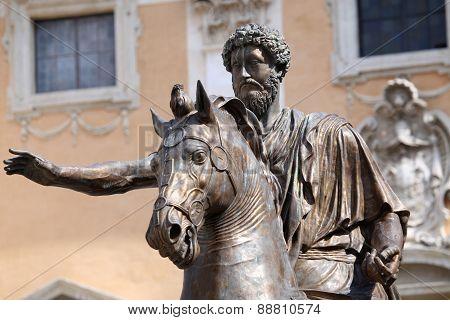 Statue Marco Aurelio In Rome, Italy