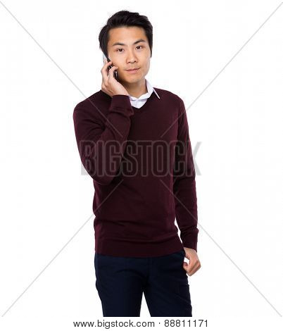 Asian businessman talk to smertphone