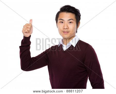 Asian man show with thumb up