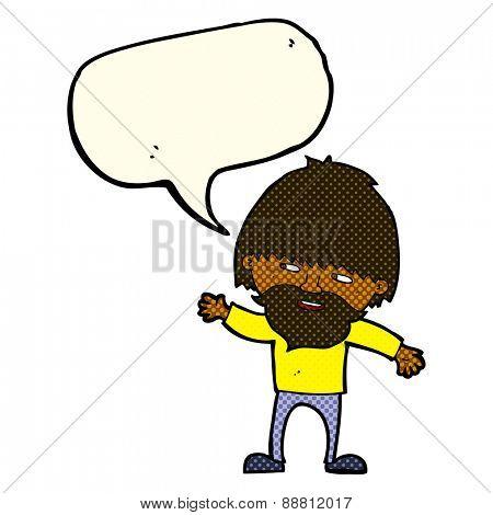 cartoon happy bearded man waving with speech bubble