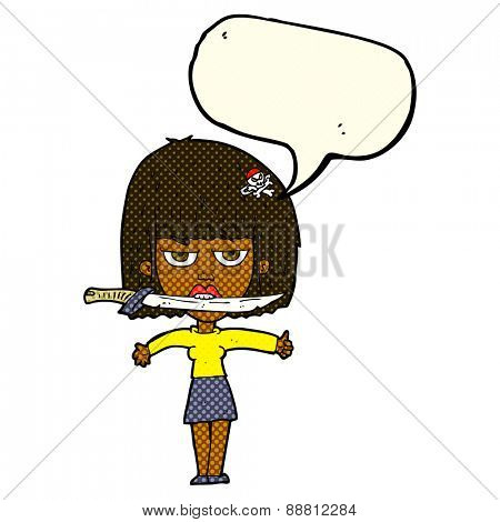 cartoon woman with knife