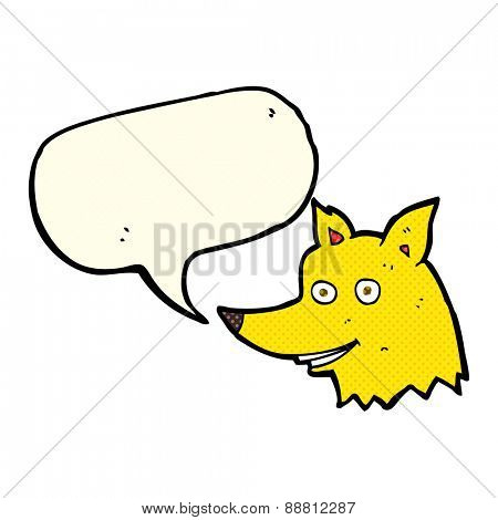 cartoon fox head with speech bubble