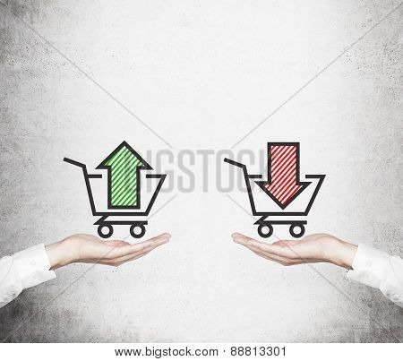 Hands Offer The Choice - 'sell Or Buy'. Basket Of Goods. A Concept Of Trading Processes.