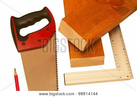 Two Sawn Boards And Tools