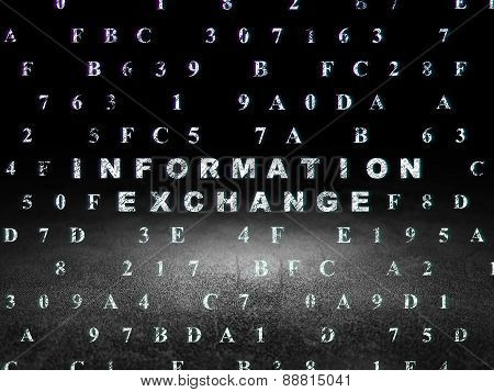 Data concept: Information Exchange in grunge dark room