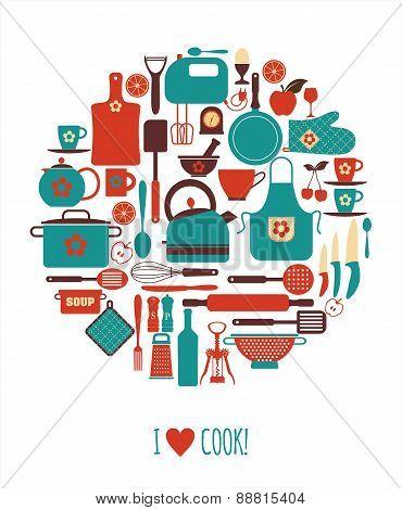 Kitchen flat icons.