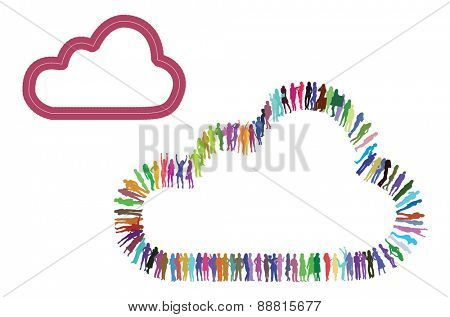 Vector Idea Icon made of many silhouettes-cloud