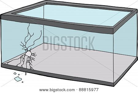 Empty Cracked Fish Tank