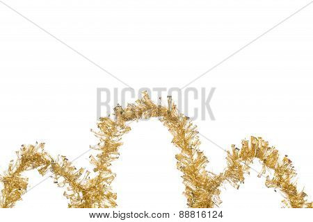 Ornament of gold tinsel.