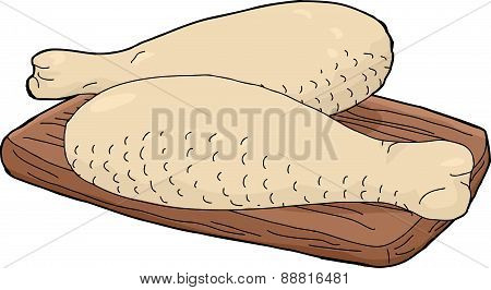 Isolated Pair Of Drumsticks On Chopping Board