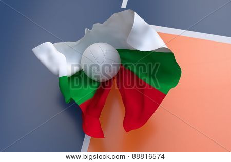 Flag Of Bulgaria With Championship Volleyball Ball
