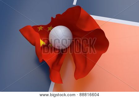 Flag Of China With Championship Volleyball Ball