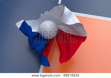 Flag Of Czech Republic With Championship Volleyball Ball