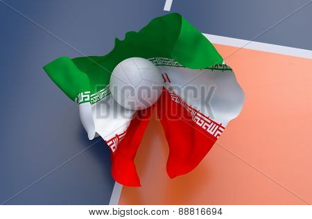 Flag Of Iran With Championship Volleyball Ball