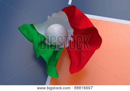 Flag Of Italy With Championship Volleyball Ball